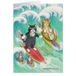 B y nota que practica surf de T #38 Tarjeta Pequeña
