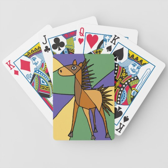 BA- Awesome Horse Folk Art Abstract Cartoon Bicycle Playing Cards