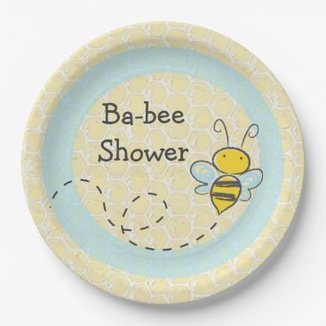 Beach Themed Ba-Bee Baby Shower Bumble Paper Plates