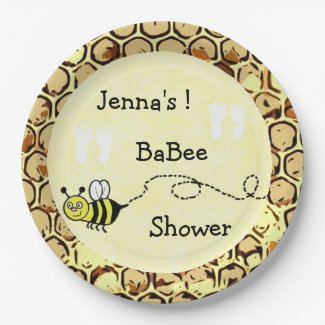 Ba-Bee Baby Shower Yellow Bee Themed Paper Plate
