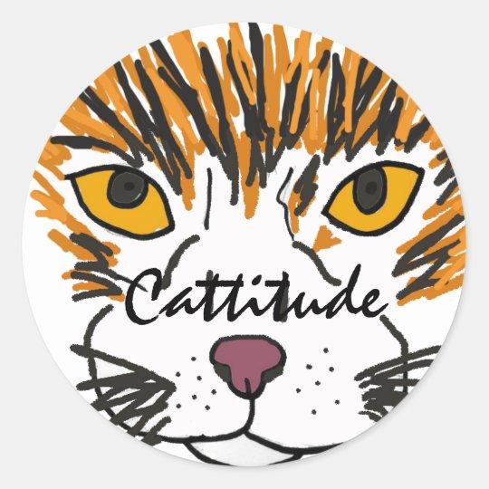 BA- Cattitude Round Sticks Classic Round Sticker