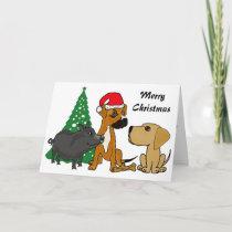 BA- Dogs and Pig Christmas Card