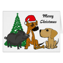 BA- Dogs and Pig Christmas Card
