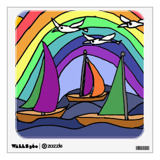 BA- Sailboats and Rainbow Folk Art Wall Decal