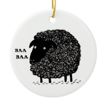 Baa Baa Black Sheep Cute Custom Holiday Ornament