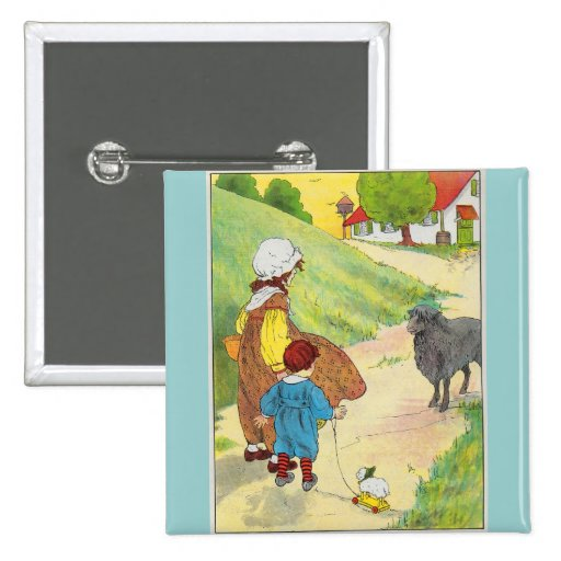 Baa, baa, black sheep, Have you any wool? 2 Inch Square Button