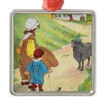 Baa, baa, black sheep, Have you any wool? Metal Ornament