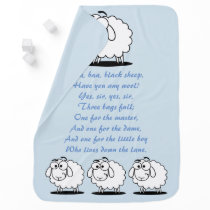 Baa Baa Black Sheep nursery rhyme baby blue Stroller Blanket