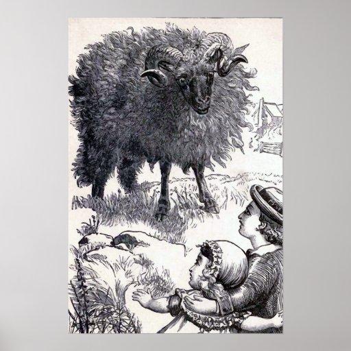 """Baa Baa Black Sheep"" Vintage Illustration Print"