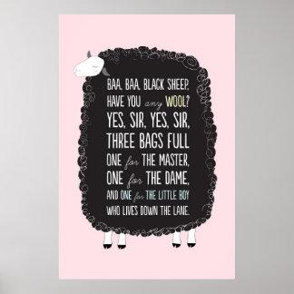 Baa Baa Black Ship Nursery Rhyme Poster