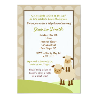 Baa Baa Sheep Baby Shower Invite Neutral