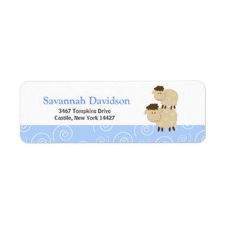 Baa Baa Sheep (Blue) Custom Address Labels (30)