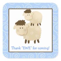 Baa Baa Sheep Blue Lamb Square Envelope Seals 20