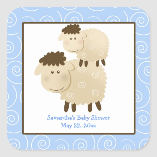 Baa Baa Sheep Blue SQUARE Favor Sticker