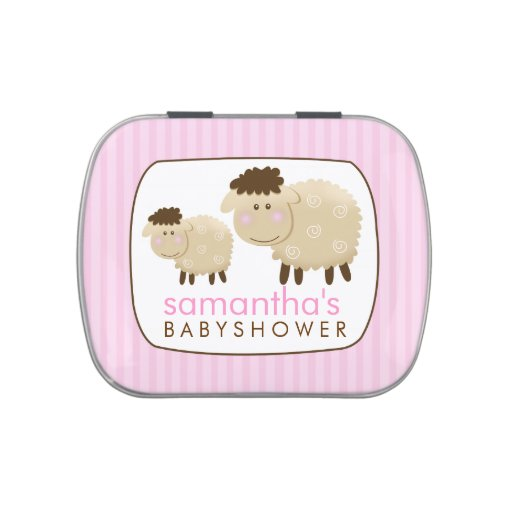 Baa Baa Sheep Farm Theme Favor Tin - Pink Jelly Belly Candy Tin
