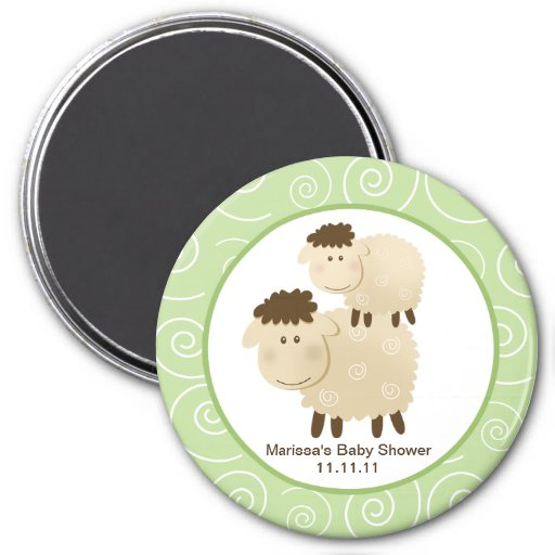 Baa Baa Sheep Green 3-inch Round Favor Magnet