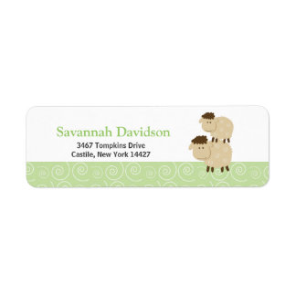 Baa Baa Sheep (Green) Custom Address Labels (30)
