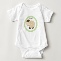 Baa Baa Sheep Green Neutral Personalized Baby Bodysuit