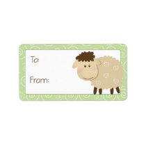 Baa Baa Sheep Green Swirl Gift Tag Label