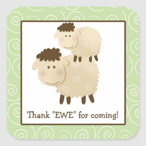 Baa Baa Sheep Lamb Square Envelope Seals 20