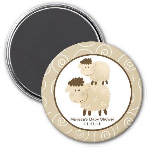 Baa Baa Sheep Neutral 3-inch Round Favor Magnet