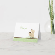 Baa Baa Sheep Neutral Green Folded Thank you notes