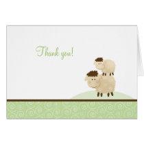 Baa Baa Sheep Neutral Green Folded Thank you notes