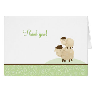 Baa Baa Sheep Neutral Green Folded Thank you notes Stationery Note Card
