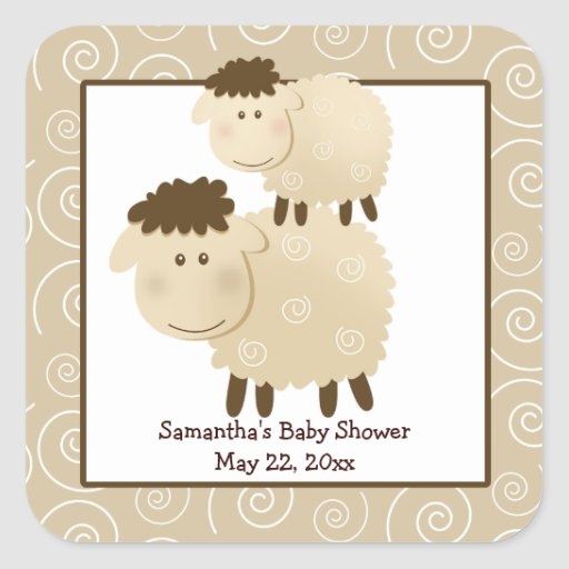Baa Baa Sheep Neutral SQUARE Favor Sticker