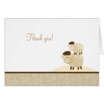 Baa Baa Sheep Neutral Tan Folded Thank you notes