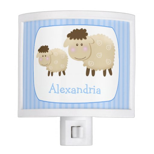 Baa Baa Sheep Nursery Room Night Light (Blue)