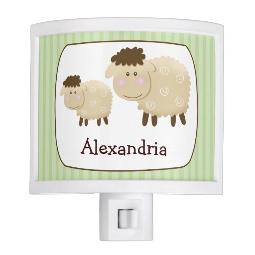 Baa Baa Sheep Nursery Room Night Light (Green)