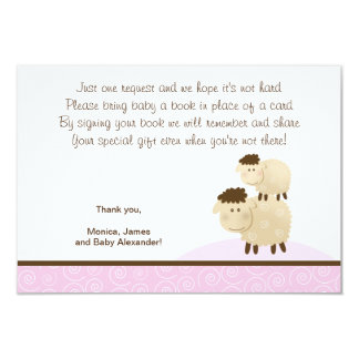 Baa Baa Sheep (Pink color) RSVP Enclosure Cards Personalized Announcement