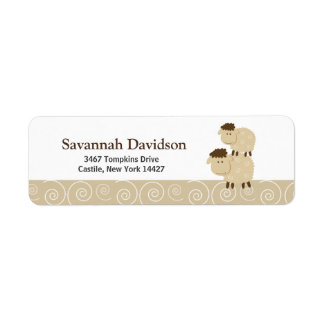 Baa Baa Sheep (Tan) Custom Address Labels (30)