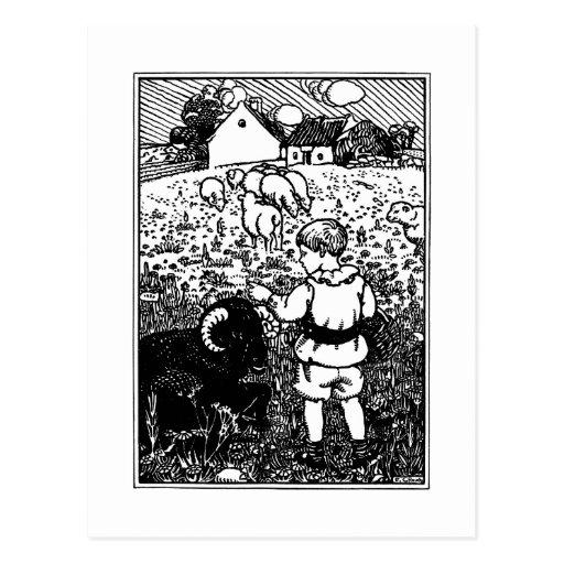 Baa del vintage, Baa, rima de las ovejas negras Tarjeta Postal