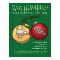 Baa Humbug Baubles Christmas Sheep & Candy Cartoon Invitation