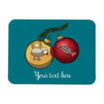 Baa Humbug Baubles Christmas Sheep & Candy Cartoon Magnet
