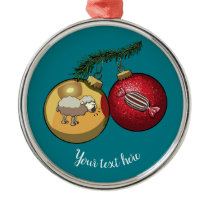 Baa Humbug Baubles Christmas Sheep & Candy Cartoon Metal Ornament