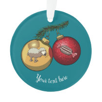 Baa Humbug Baubles Christmas Sheep & Candy Cartoon Ornament