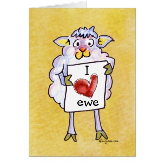 Baaaah Mine Valentines Day Cartoon Sheep Greeting Card