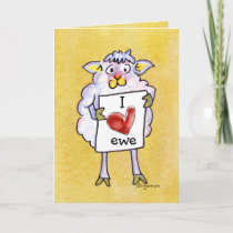 Baaaah Mine Valentines Day Cartoon Sheep Holiday Card