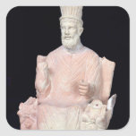 Baal Hammon seated on his throne Square Sticker