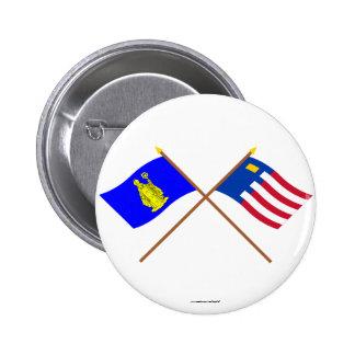 Baarle-Hertog and Baarle-Nassau Crossed Flags Pinback Buttons
