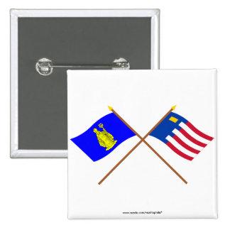 Baarle-Hertog and Baarle-Nassau Crossed Flags 2 Inch Square Button