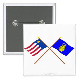 Baarle-Nassau and Baarle-Hertog Crossed Flags Pinback Button