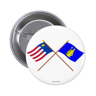 Baarle-Nassau and Baarle-Hertog Crossed Flags Button