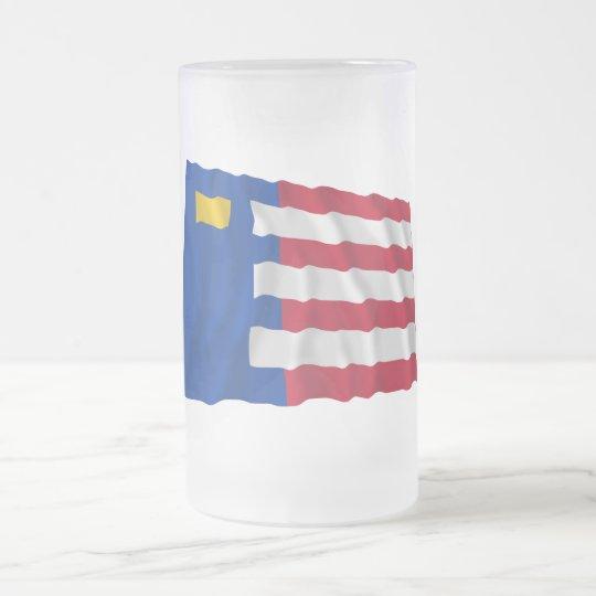 Baarle-Nassau Waving Flag Frosted Glass Beer Mug