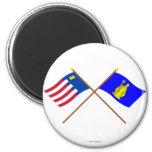 Baarle-Nassau y banderas cruzadas Baarle-Hertog Imán De Frigorífico