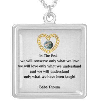 Baba Dioum Quote Square Pendant Necklace