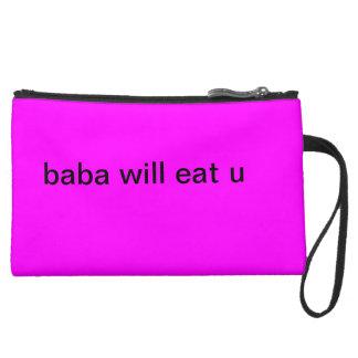 Baba will eat u bag. suede wristlet wallet